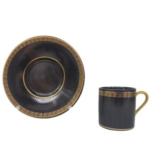 Coffee cup and Saucer 12pc Set 90cc Black/Greek Embossed