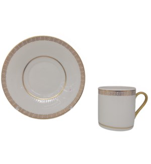Coffee cup and Saucer 12pc Set 90cc White/Greek Embossed