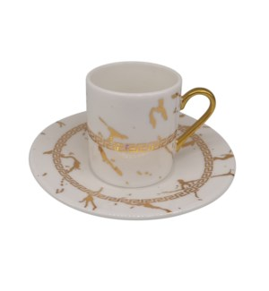 Coffee cup and Saucer 12pc Set 90cc White Greek/marble