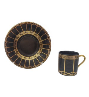 Coffee cup and Saucer 12pc Set 90cc Black Greek/Lines