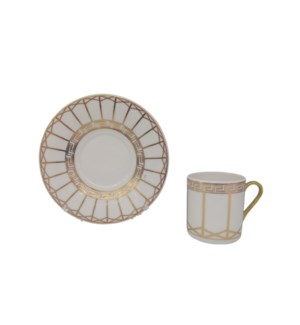 Coffee cup and Saucer 12pc Set 90cc white Greek/Lines