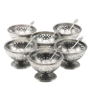 Dessert Footed Bowls w/Spoons18pc Set - Antq Slvr