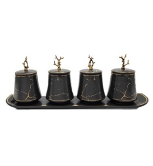 5pc Canister Set w/Tray - Branch Design- Blk