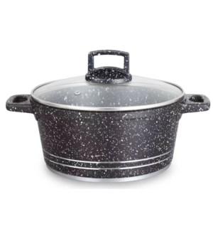 Dutch Oven w/Glass Lid Alum Cast Granite 5Qt Black