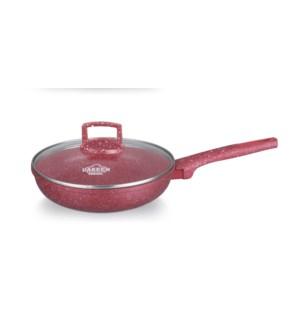 Deep Frying Pan w/Glass Lid Alum Cast Granite 8in Red