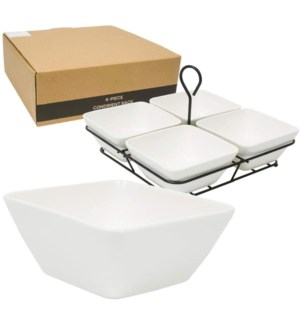 Condiment Divider 4pc Set Porcelain w/Metal Stand 10inX10in