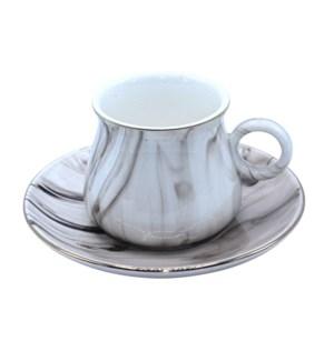 Coffee Cup 12pc Set Marble Black Bone China 100cc
