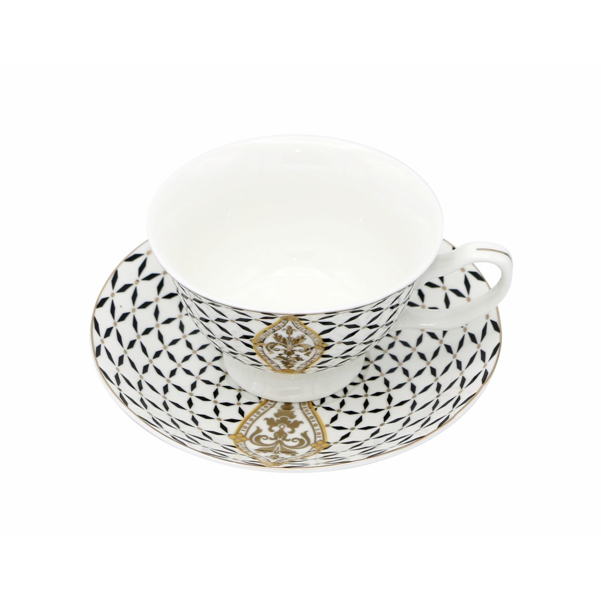 Tea Cup 220cc Bone China 12pc Set Classic Royal Blk/Gld