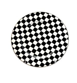 7.5in Dessert Plate Checker Design w/Gold Rim 6pc Set