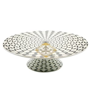 12in Cake Stand Bone China Royal Blk/Gold