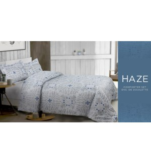 HAZE 2PC ENSEMBLE DE DOUILLETTE MICROFIBRE BLEU SIMPLE
