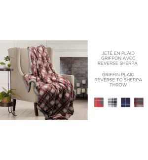 Griffin plaid velour rev to sherpa throw 50X60 12/B