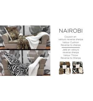 Nairobi velour rev to sherpa throw 50X60 12/B