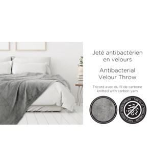Antibacterial Velour Throw 50x60 grey 6/box