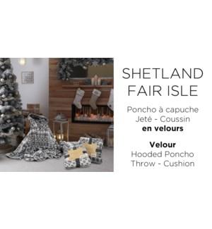 "Hooded Fleece Poncho SHETLAND FAIR ISLE GREY 31"" 6/BOX"