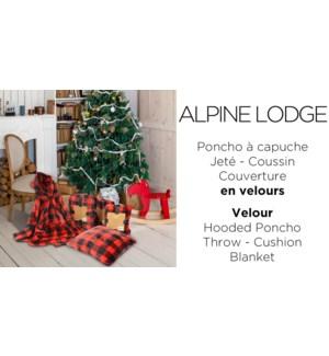"Hooded Fleece Poncho ALPINE LODGE RED/BLACK 31"" 6/BOX"