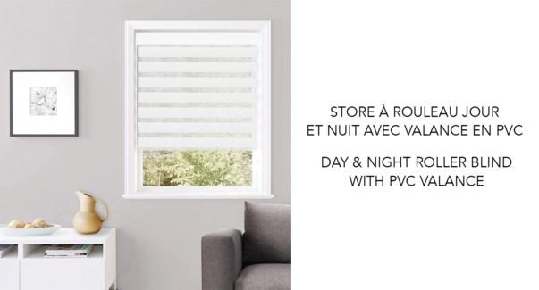 Store a Rouleau jour et nuit PVC Blanc 40*63 6/b