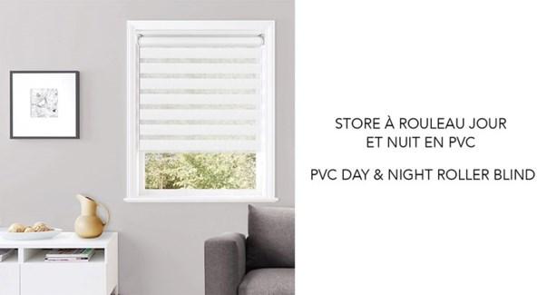 Store a Rouleau jour et nuit PVC Blanc 55*63 6/b
