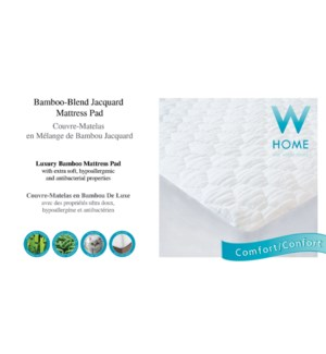 BAMBOO JACQUARD COUVRE-MATELAS BLANC DOUBLE