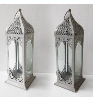 Tall Metal Antiq White Lantern