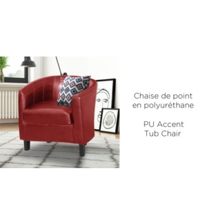 RED  PU TUB ACCNET CHAIR WITH WOOD FRAME
