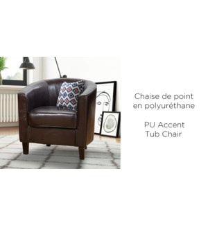 BROWN  PU TUB ACCNET CHAIR WITH WOOD FRAME