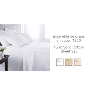 COTTON T-350-Blanc-simple-Ens.Draps 10/B