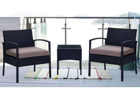 3PCS LEISURE SET INCLUDES 2X CHAIRS AND ACCENT TABLE