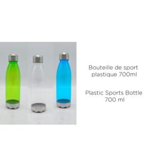 BOUTEILLE DE SPORT PLASTIQUE 700ML COLORIS ASSORTIS 12/B