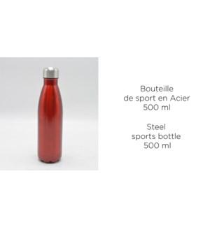 BOUTEILLE DE SPORT ACIER 500ML METAL ASSORTIS 12/B