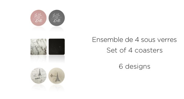 ENSEMBLE DE 4 SOUS VERRES 6 DESIGNS ASSORTIS