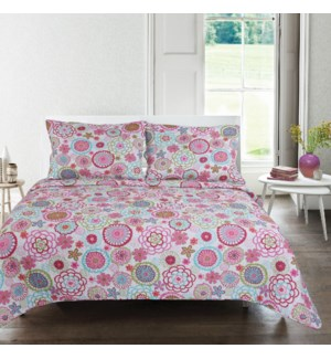 Martha Ensemble Courte Pointe 2mcx Microfibre Rose Simple 6B