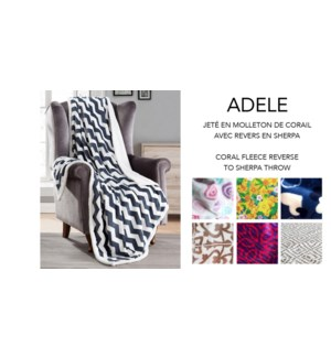 Adele printed coral fleece reverse to sherpa throw 12/B