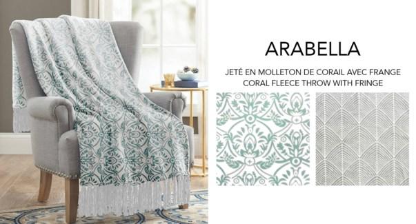 Arabella coral fleece throw w/fringe 50X60 ASST. 12/B