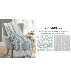 Arabella coral fleece throw w/fringe 50X60 ASST. 12/B