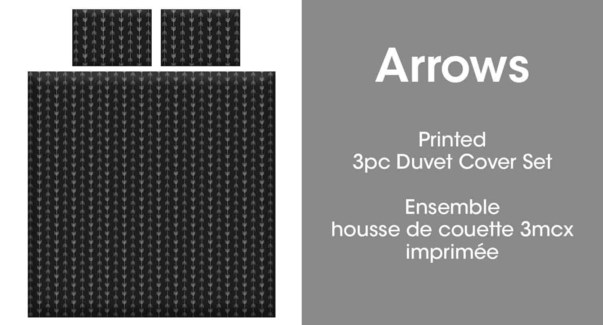 ARROWS 3PC ENS HOUSSE DE COUETTE NOIR/BLANC DOUBLE 2B