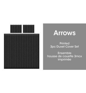 ARROWS 3PC ENS HOUSSE DE COUETTE NOIR/BLANC TRES GRAND 2B