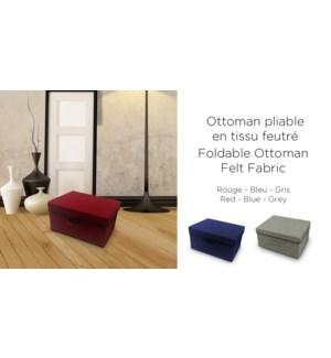 FOLDABLE OTTOMAN FELT FABRIC-Gris-40 x 30--