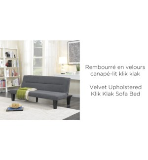 GREY  VELVET UPHOLSTERED KLIK-KLAK SOFA BED 165x74x76cm