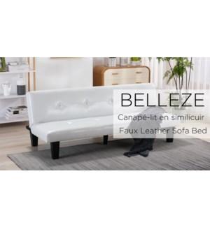 BELLEZE 69 INCH CREAM  FAUX LEATHER SOFA/BED W PLASTIC LEG