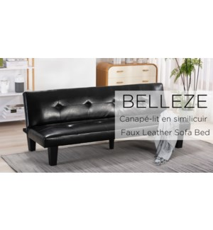 BELLEZE 69 INCH BLACK FAUX LEATHER SOFA/BED WITH PLASTIC LEG
