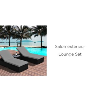 3PC SUN LOUNGE SET IN BLACK RESIN WICKER WITH BLUE CUSHIONS