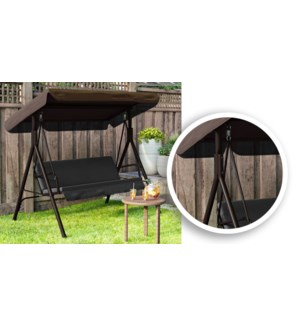 BROWN 2-PERSON SWING SET WITH CANOPY - METAL FRAME