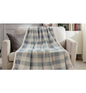 Adele printed coral fleece reverse to sherpa blanket 60x80 a