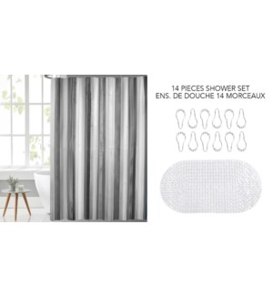 STRIPE 14 PC PEVA ENSEMBLE DE DOUCHE JAUNE GRIS 12B