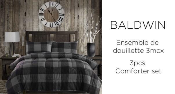 Baldwin buffalo grey plaid 3 pc comforter set QUEEN 2/B