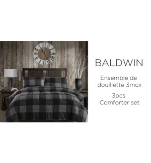 Baldwin buffalo grey plaid 3 pc comforter set QUEEN 2/B