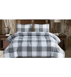 Baldwin buffalo grey/White plaid 3 pc comforter set QUEEN