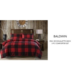Baldwin buffalo red plaid 3 pc comforter set KING 2/B