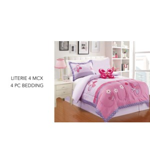 Junior Girls butterfly 4 pc bedding  tw 4/ctn